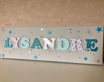 Canvas starry light blue theme - name wood on canvas - child painting - kids decor - custom name - Lysander