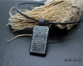 Celtic interlacing polymer clay necklace