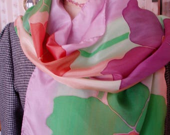 """Multicolor silk scarf hand painted """"The transparency of the flowers"""". Creation: unique"""