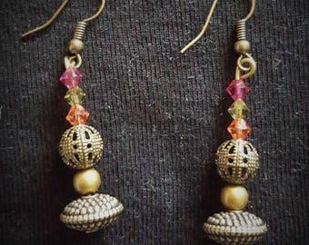 Earrings pendant bronze swarovski pearls and bronze beads