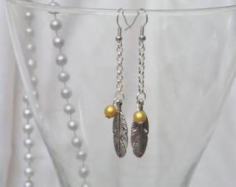 "Unique and long earrings ""Feather and Pearl mustard"""