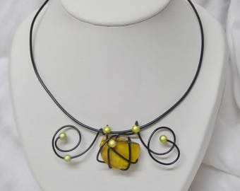 Choker, yellow and Black Aluminum wire, wedding or evening ceremony