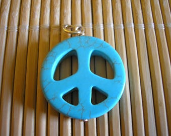 Pearl turquoise 25 mm pattern peace and love
