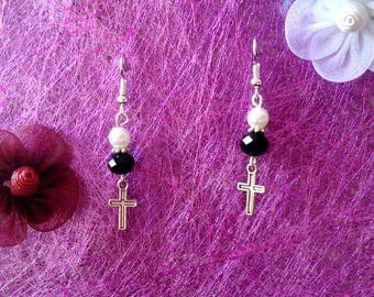 Pearl and cross earrings