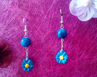 turquoise polymer clay Flower Earrings