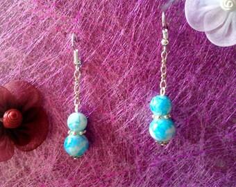 Blue marbled earrings