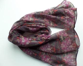 Silk Chiffon Scarf Made with Liberty of London Dakota Feathers Mauve and Red Fabric