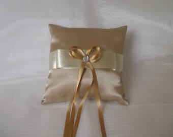 pillows with Golden satin wedding ring pillow