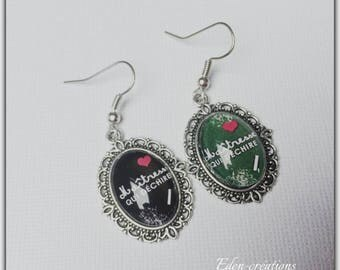 Earrings glass cabochon centerpiece tearing school theme