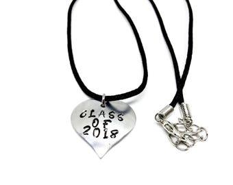 Class of 2018 Heart Charm Necklace, High School Graduation, Senior