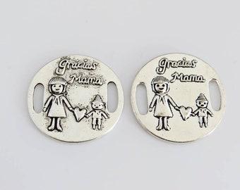 "set of 2 medallions thank you MOM ""gracias mama"" silver metal"