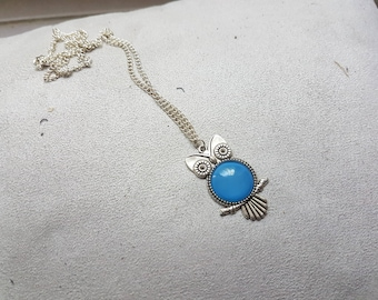 light blue OWL shaped necklace