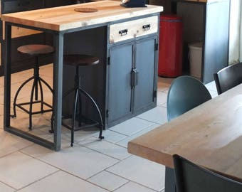 Central industrial kitchen island 4 doors steel 2 drawers solid wood