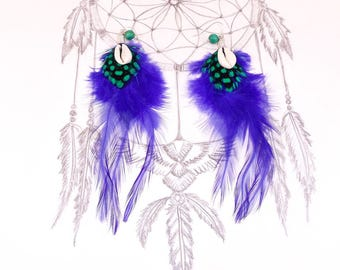 Ethnic earrings feathers.