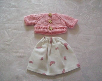 clothes for dolls 32 33 cm, with babies (skirt cotton printed with a vest or sweater)