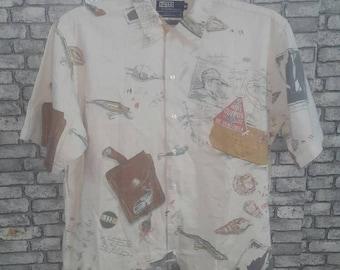 Vintage rare polo ralph lauren allover print shirt/polo sport