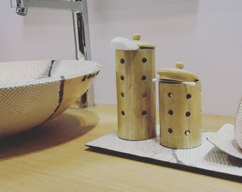 BOHICON, set of 2 boxes/candles white wood