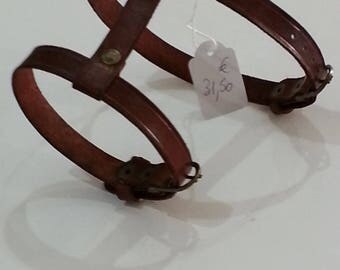 Chocolate leather dog collar harness