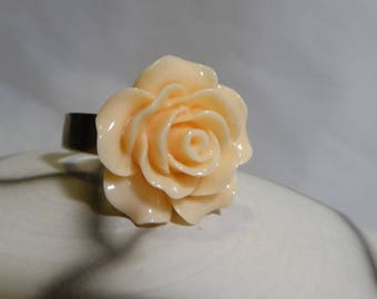 Apricot flower romantic ring in resin