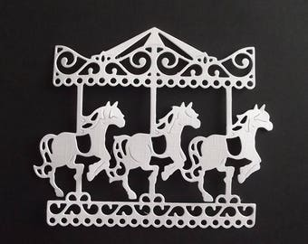 "Set of 10 white cuts ""merry-go-round"" for your scrapbooking creations."