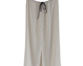 Striped silk satin skirt
