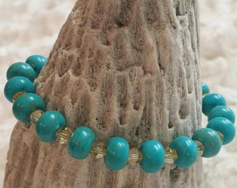 Turquoise and crystal beaded bracelet