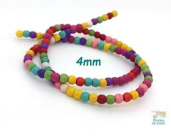 105 round Howlite beads multicolor 4mm (ph210)