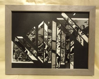 """Painting-Collage """"Asymmetry"""", black and white, made from photos"""