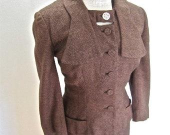 M 40s 50s 2pc Suit Brown Wool Black Tweed Flecks Rhinestone Button Accents Jacket Skirt Medium