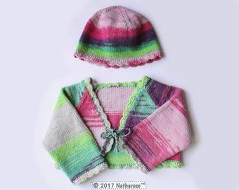 Ensemble bébé boléro et bonnet rose vert violet
