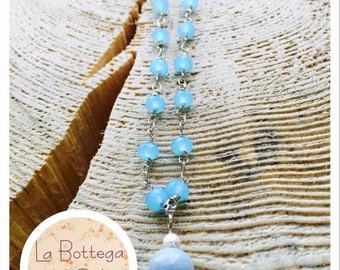 Necklace with aquamarine crystals