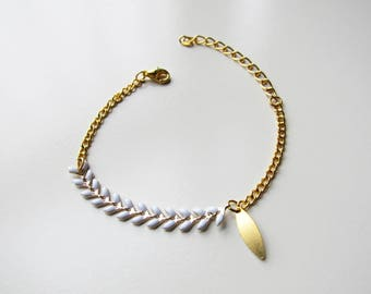 Bracelet chain ears / white and gold Chevron