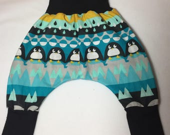 Baby harem pants sizes 3 months to 18 months penguins in cotton and jersey baby pants pattern
