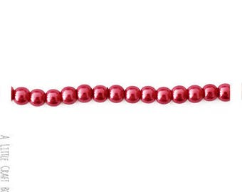 80 beads of glass Pearl 4mm - Burgundy color