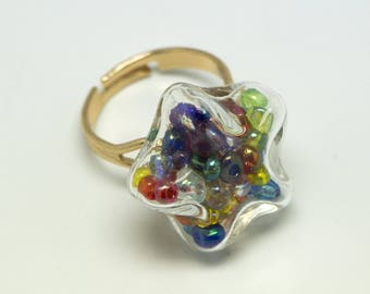 Star Adjustable ring with multicolored seed beads and glass