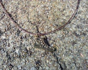 Necklace pendant Brown woven cord man converse basketball brass bronze