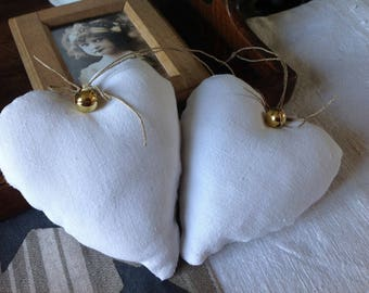 Hanging heart white and Golden Bell