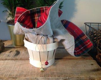 Small purse in linen, plaid and cajete butter