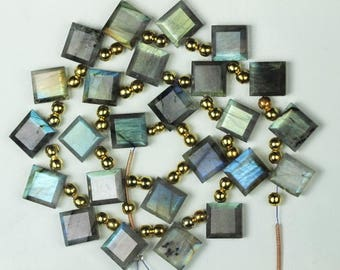 12 piece Labradorite Faceted Square Briolette Beads 4 x 9 mm Approx [ T 84 ]