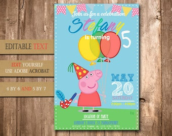 Peppa Pig, Peppa Pig Invitation, Peppa Pig Birthday, Peppa Pig Party, Peppa Pig Birthday Invitation, Peppa Pig Invite Printable, Peppa Pig