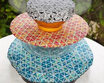 Charlotte ronde en 4 tailles et 4 coloris différents pour mug, bol, saladier, plat à tarte en coton enduit zéro déchet