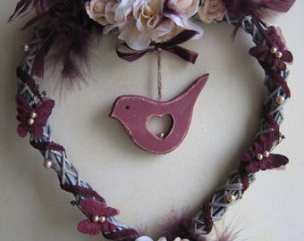 His dreamy bird and heart buttons with roses and feathers