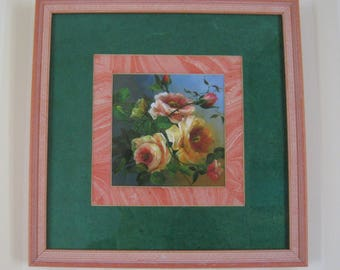 """Frame under glass """"bouquet of old roses"""""""