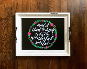White Framed Chalkboard - 16x20 sign - What a Wonderful World - Floral wreath - Hand lettered sign - Kitchen decor - calligraphy