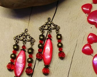 Set charms in bronze and pearl beads, Crystal and metal