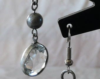Earrings silver crystals 5.5 cm