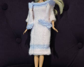 Dress and vest barbie knitted hands