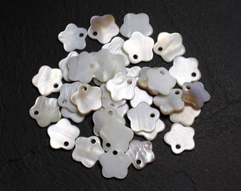 10pc - white flowers 12mm 4558550021571 mother of Pearl charms