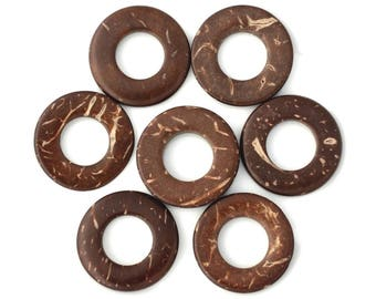 20pc - Donuts hoops 20mm 4558550001269 Brown coconut wood beads