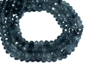 20pc - beads - Jade faceted Rondelle 6x4mm black charcoal grey - 8741140008168